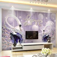 murais wallpaper cisnes venda por atacado-5D Tridimensional Côncavo Convexo Pano De Seda Sem Costura Mural Swan Jóias Sala de estar Quarto Tv Fundo Papel De Parede 35 8bz gg