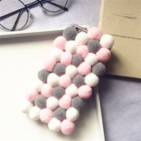 Wholesale warm pink resale online - Winter Warm Plush Balls Phone Case For Iphone X XR XS MAX Protective Cover PINK Multicolor Case For Plus