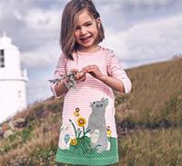 cebra viste niños bebe al por mayor-Baby Girls Autumn Dress Conejo Zebra Birds Vestido de Navidad Princess Animal Appliques Kids The Little Baby Clothing Ropa de niños de manga larga