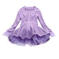 Wholesale kids woolen dresses girls - girl woolen dress solid cotton lace knit princess thick dress for 3-10years girls kids children Spring Winter warm dress