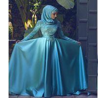 Wholesale kaftan bridal dresses - 2018 Vintage Long Sleeves Muslim Arabic Evening Dresses Modest High Neck Lace Appliques Kaftan Dubai Pageant Bridal Dresses BA9227