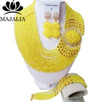 Wholesale Yellow Jade Beads Bracelet - whole saleClassic Nigeria Wedding african beads jewelry set yellow Crystal necklace bracelet Bridal Jewelry sets Free shipping KL-1043