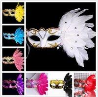 plumas de las fuentes del partido al por mayor-50 unids mujeres máscara de la mascarada de Navidad de color máscara de plumas fiesta de cumpleaños de Halloween máscara de la manera etapa representaciones suministros