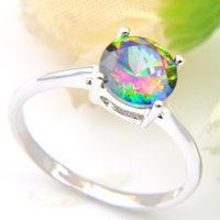 Wholesale gemstone ring - Vintage Sterling Silver Queen Fancy Natural Mystic Topaz Round Gemstone Jewelry Austrian Crystal Wedding Ring for lovers CR0471
