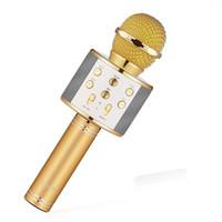 Wholesale magic music player - WS858 Bluetooth wireless Microphone HIFI Speaker Condenser Magic Karaoke Player MIC Speaker Record Music For Iphone Android Tablets PC 14pcs
