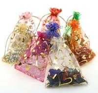 Wholesale Orange Organza Favor Bags - Organza Wedding creative gauze bag 7x9cm orange peach heart wrap bag many color to choose WQ26