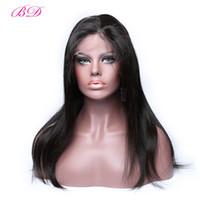 pelucas de pelo virgen chino glueless al por mayor-Pelucas llenas del pelo humano del cordón lleno de BD Peluca brasileña del pelo de la Virgen 150% de la densidad para las mujeres negras