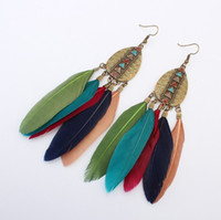 Wholesale White Feathers For Sale - Dangle Red Blue Pink Feather Drop Earrings Beads Bridal Indian Ethnic Vintage for Girls Women Sale Jewelry Pierced Ears Earring Stud Fashion