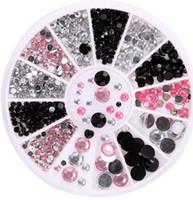 siyah elmas taklaları flatback toptan satış-Siyah / Pembe / Temizle 3D Nail Art Rhinestone İnciler Flatback Nail İpuçları Sticker tırnak Dekorasyon Tekerlek DIY Güzellik Makyaj Araçları