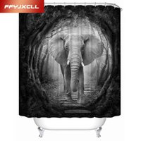Wholesale White Polyester Shower Curtain - Black White 3D Elephant Animal Waterproof Shower Curtain Custom Made Polyester Bathroom Curtain With 12 pcs Hook
