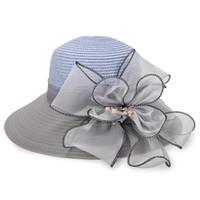 Wholesale elegant church hats - Lady Summer Hat Organza Floral Trim Elegant And Vogue Garden Sandy Beach Straw Cap 3D Flowers Plastic Pearls Wide Brim Hats 13 5zy