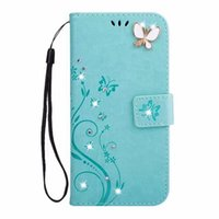 Wholesale bling cards - Bling Diamond Flower Wallet Leather Case For Samsung Galaxy S9 Plus S8 S7 S6 Edge A8 2018 2017 A3 A5 Glitter Butterfly Fashion Cover 1pcs