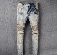 Wholesale Paris Oil Paintings - Famous Brand Paris mens Destoryed biker denim Oil Painted Colored jeans Men blue Biker Jeans High Quality