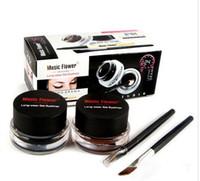Wholesale Gel Color Dryer - Music Flower Eyeliner 2 in 1 Brown + Black Long-wear 24hours Gel Eyeliner Make Up Waterproof Cosmetics Set 2pcs=1set