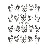 papier tier kunst großhandel-LadyMisty 1 Blatt Cartoon Tier Flamingo Fox Hohl Designs Nagel Wasser Aufkleber DIY Schwarz Abstraktes Bild Nail art Papier Werkzeug