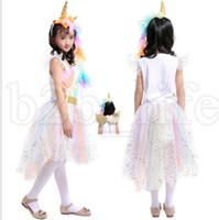 Wholesale rainbow wings - Girls unicorn Rainbow Dress Unicorn Headband Angel Wings Lace Tutu Princess Dress 3 Pieces Suits Cosplay Clothing dress KKA5502