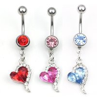 D0144-Retail ( 4 colors ) heart style ring Belly Button ring Navel Rings Body Piercing Jewelry Dangle Accessories Fashion Charm