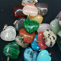 Wholesale green sand stone - 100pcs Mix Color Heart Natural Stone Pendants with Sand Stone Turquoise Quartz Malachite Red for Jewelry Necklace DIY Making