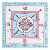 Wholesale silk neckerchief square - Square Women Neckerchief Health Imitated Silk Fabric Scarf Creative Twill Classy Chains Scarves Easy To Clean 7 52mt B
