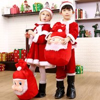 vestido de santa navidad rojo niños al por mayor-Disfraz de Navidad Niñas Santa Claus Vestido rojo con capa Cosplay Ropa de niños Niñas Niños Ropa Ropa para niños
