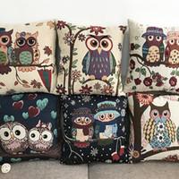 hot cartoon couple 2018 - New Multicolor Hot Pillowcase Cartoon Owl Couple Dyed Jacquard Cotton Hold Pillow Set Sofa Cushion Cover Car Waist Pillow Cover