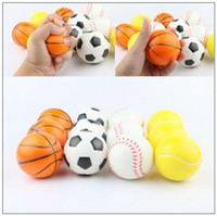 Wholesale Soft Stock - 6.3cm Stress Ball Squeeze Soft Foam Ball Squeezing Balls Basketball Football Tennis Hand Wrist Exercise Novelty Items CCA9488 120pcs