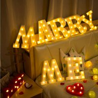 Wholesale grey pink bedroom - party decorations Premium 26 Letters White LED Night Ligh For Birthday Wedding Party Bedroom Wall Hanging party DIY BP087