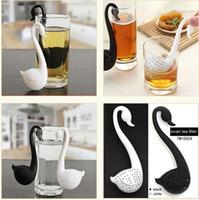 ingrosso cucchiaini di plastica-Nuovo Nolvety Gift Swan Spoon Tea Strainer Infusore Cucchiaino Filtro Creativo in plastica per tè Accessori da cucina