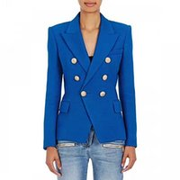 jaqueta de mulher xxl venda por atacado-Mais novo 2019 designer de moda blazer mulheres de metal leão botões double breasted blazer jaqueta plus size s-xxl