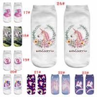 calcetines adultos de dibujos animados al por mayor-Unicorn Socks 3D print animal horse sock Europa y América 28 estilos cartoon wen women socks