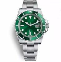 esportes de cerâmica venda por atacado-Top de Luxo Cerâmica Bezel Mens Relógios Mecânicos de Aço Inoxidável Movimento Automático Relógio Verde Sports Auto-vento Relógios 116610LV relógio de Pulso