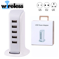 Wholesale Universal Charger For Computer - 20W 5 USB Portable Charger For US EU UK Plug Multi Intelligent Charging Socket Travel Charger for Phone Pad Computer Standard USB Cha