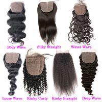 moda hair оптовых-Необработанные человеческие волосы шелковая основа закрытие Али Moda прямые сырые индийские топ кружева закрытие 4x4 свободный средний 3 часть прямой шелк на основе закрытия