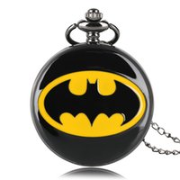 Wholesale Pendant Pocket Watch Necklace - Fashion Gift for Kids Boy Black Batman Pendant Pocket Watch Pendant Quartz Steampunk Necklace Gift+Box Bag
