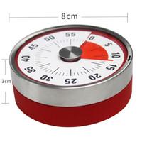 temporizador magnético al por mayor-Red Baldr 8 cm Mini tiempos de cuenta regresiva mecánicos Herramienta de cocina Acero inoxidable Forma redonda Reloj de cocina Alarma Temporizador magnético Recordatorio 25ym Z