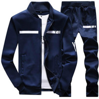 Wholesale mens black winter coat - New Brand Designer Tracksuit Men Luxury Winter Sportswear Hoodies Coat Loose Mens Tracksuits Zipper Sets Plus Size Coat Pant