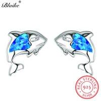 boucles d'oreille opale bleue achat en gros de-Blaike océan bleu opale de feu boucles d'oreilles pour les femmes en argent sterling 925 belles boucles d'oreilles poissons arc-en-ciel pierre de naissance oreille goujons femme