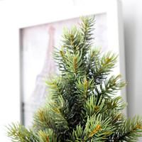 ingrosso alberi di natale pentole-Vaso di albero di Natale Set nuovo anno artificiale piccolo ramo di albero di pino in vaso con cesto di lino Vaso per ornamenti di Natale Decorazione