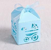 ingrosso scatola favorevole del partito blu-Scatole bomboniere battesimo, 2,2 '' x2.2 '' x2.2 '' Scatole regalo taglio laser per bomboniere battesimo Decorazioni battesimo primo compleanno festa blu