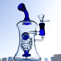 Wholesale Small Hourglasses - Blue Fab Egg Perc Glass Bong Showerhead Percolator Small Oil Rigs 14mm Joint Hourglass Shape Dab Rig Mini Water Pipe WP331