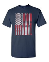 ingrosso gli stati della sfera-USA FLAG Baseball Balls and Bats Maglietta da uomo degli Stati Uniti 1434