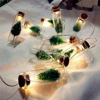 ingrosso illuminazione delle bottiglie di vetro-LED String Light Vintage Clear Glass Wish Bottle 1M 10 LED String Fairy Lights Battery Operated per il giardino di casa Decorazioni natalizie H1416