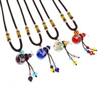 Wholesale Glass Vial Pendant For Necklace - 2018 Fashion New Jewelry Pendant Color Glass Perfume Necklace Cute Vials Diffuser for Essential Oil Valentines Gift essential oil bottle