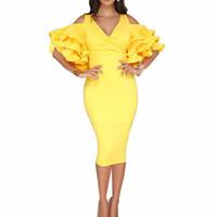 ingrosso vestiti midi gialli-Vestito elegante rosso nero giallo donne Sexy Hip Wrap con scollo a V mezza manica Ruffle Dress Party Club aderente Midi matita vestidos