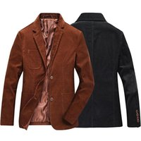 ternos de veludo marrom homens venda por atacado-Atacado- marrom preto casual marca de negócios outono inverno masculino vestido paletó jaqueta de veludo blazer homens slim fit com cotovelo