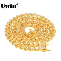 ingrosso strass 13mm-Collana a catena a maglie cubane di Uwin Miami con pendente 13mm Collana con gemme di colore argento e oro