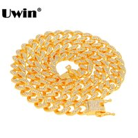 13mm strass großhandel-Uwin Miami Cuban Link Kette Halskette 13mm Voll Bling Bling Iced Out Strass Silber Gold Farbe Modeschmuck Halskette