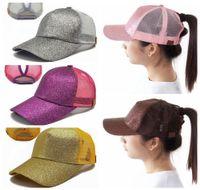 Wholesale Snapback Cap Wholesale - Hot CC Women Baseball Hats Glitter Ponytail Cap Horsetail Baseball Cap Beach Mesh Cap Snapback Adjustable DDA80
