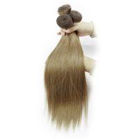 Wholesale Ash Blonde Hair - Brazilian Straight Hair 3 Bundles Human Hair Weave Color 8 Light Brown Ash Blonde Brazilian Virgin Hair Straight Extensions