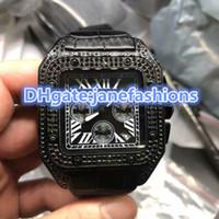 Wholesale Watch Solar - Luxury Brand Fashion Casual men's wristwatches black dial black Diamond Watches black leather strap full automatic VK quartz watches